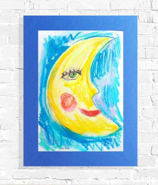 rysunek z księżycem, księżyc obraz malowany ręcznie a3