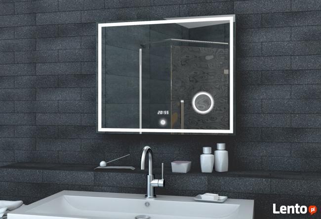 LUX-AQUA Lustro łazienkowe z lusterkiem kosmetycznym ZEGAR