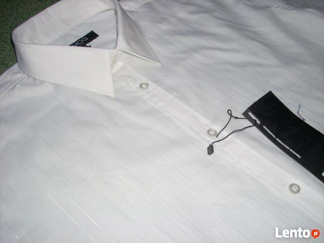 New Yorker Biała Koszula SREBRNE paski NOWA L i XL impreza