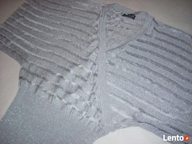 Srebrny Srebrzysty sweterek kopertowy J NOWY 36 38