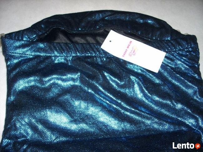 Tally Weijl Błyszcząca bluzka impreza Granat Blue Nowa 34 36