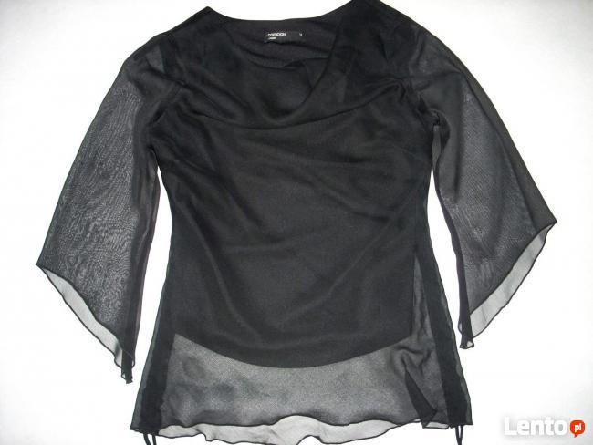 Angielska Czarna Zwiewna Bluzeczka Wizytowa Woda 36 38 S M