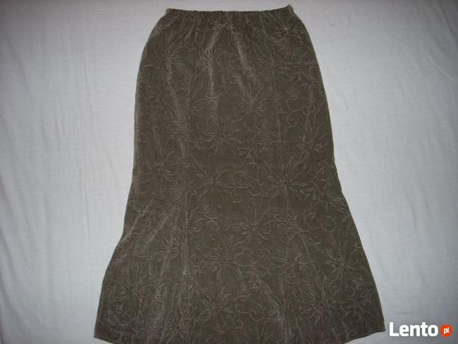 Długa Spódnica Khaki Welur 42 XL 40