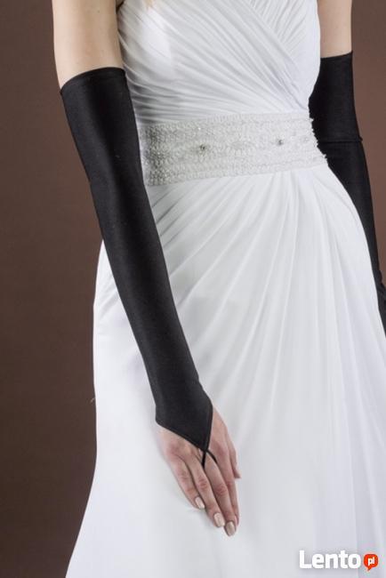 Rękawiczki czarne wieczorowe damskie długie