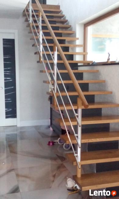 Schody drewniane ,barierki nierdzewne
