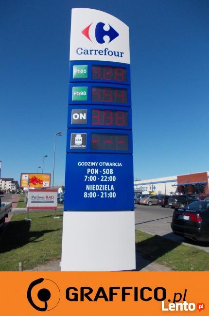 Pylon cenowy, pylon reklamowy dla stacji paliw_GRAFFICO