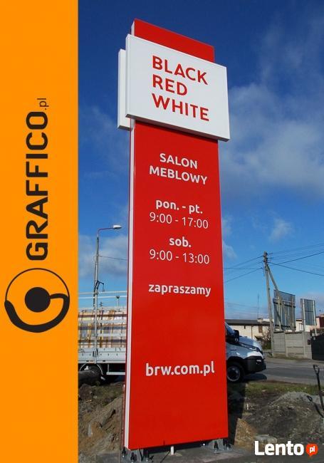 Pylon reklamowy, oznakowanie obiektów komercyjnych_GRAFFICO