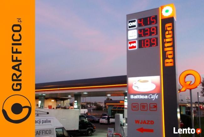 Oznakowanie, branding stacji paliw, pylony cenowe