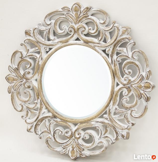 Stylowe okrągłe lustro w przecieranej kwiatowej ramie