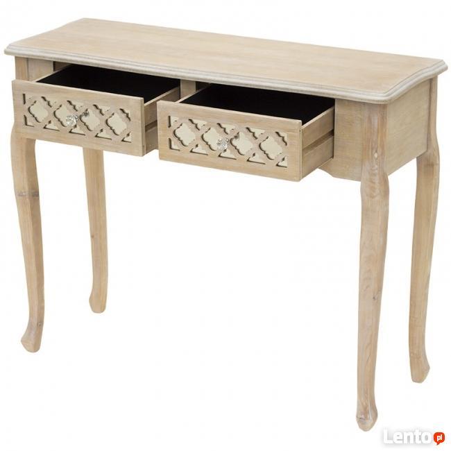 konsola stolik z ażurowymi szufladami w stylu glamour
