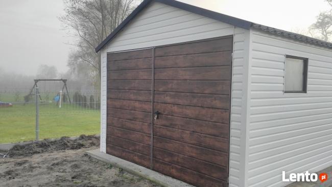 biały garaż blaszany profil blachodachówka okno śląsk bytom