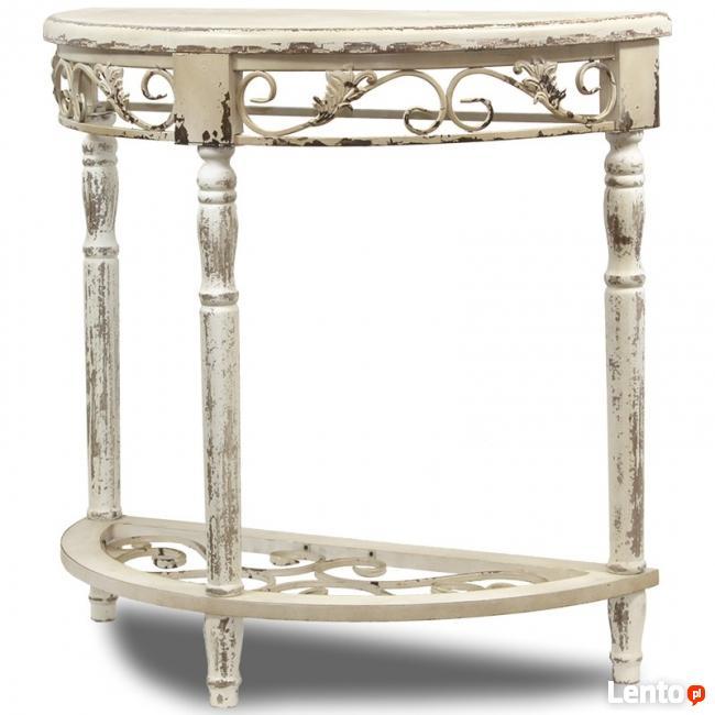 biała przecierana ażurowa konsola stolik styl prowansalski