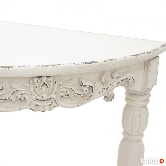 biały przecierany rzeźbiony stolik konsola styl prowansalski
