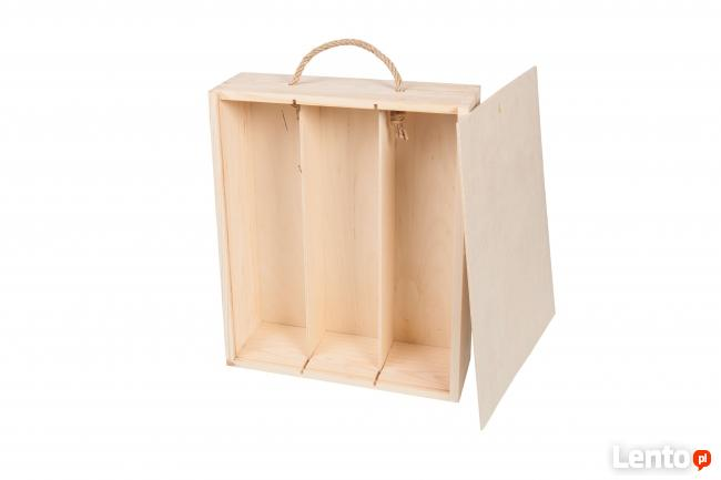 SKRZYNKA PUDEŁKO drewniane na trzy wina szuflada PRODUCENT
