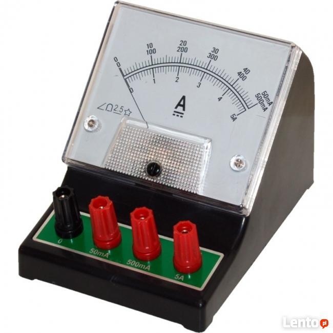 Amperomierz analogowy szkolny DCA-1, 50mA-500mA-5A DC