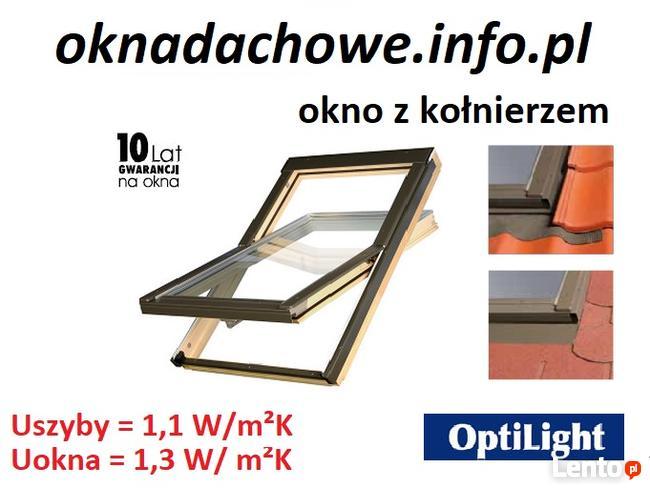 Okno dachowe o wymiarze 55x78 cm z kołnierzem TZ/TS