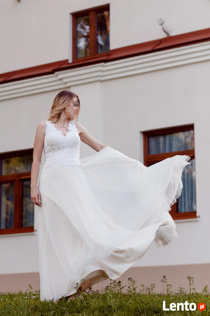 Suknia ślubna Boho Skromna Rustykalna 38 M L 40 Tarnów
