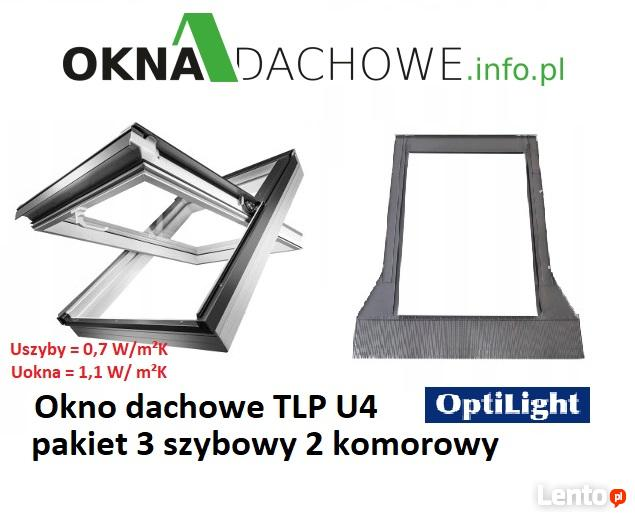 Okno dachowe OptiLight TLP U4 78x118 cm 3 szyby PCV