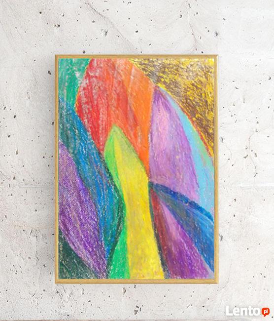 nowoczesny obraz 21x30, kolorowa abstrakcja