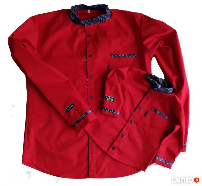 Archiwalne Koszule dla taty i syna czerwone ze stójka  aslSr