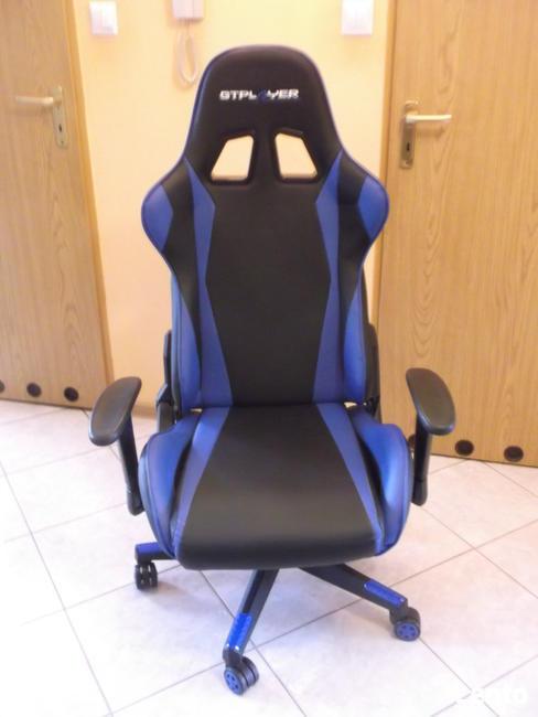 GAMINGOWY fotel biurowy gracza czarno niebieski