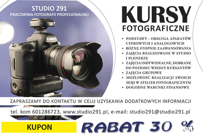 Kurs fotograficzny w studio - 20 godz.