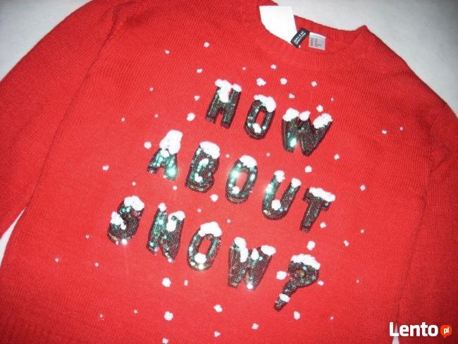 H&M Uroczy Sweter Motyw Śniegu Cekiny NOWY 36 S XS