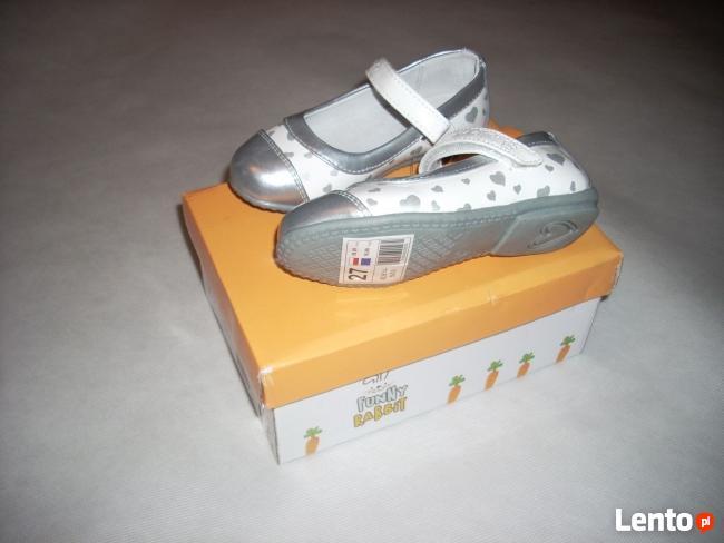 FUNNY buty skóra NOWE serduszka SREBRNE r.28 i 26