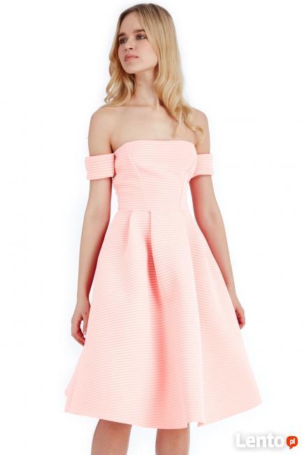 00110f1f17 Morelowa neoprenowa rozkloszowana sukienka midi z kieszeniam Czeladź