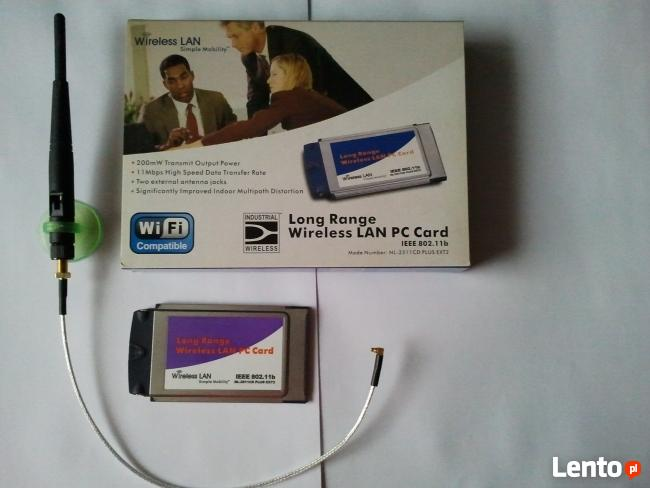Karta sieciowa WiFi Senao - do laptopa na PCMCIA + konektor