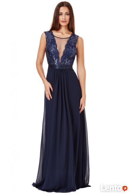 b48f7992b4 Granatowa szyfonowa długa sukienka na sylwestra Czeladź