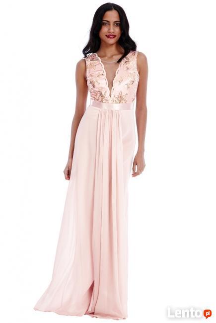 Archiwalne Bordowa szyfonowa długa sukienka na studniówkę