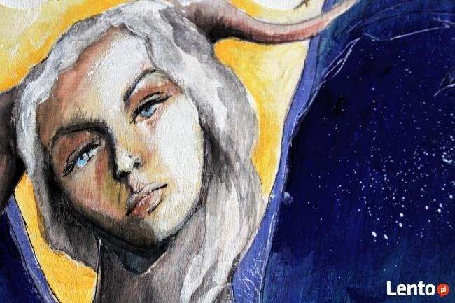 Anioł malowany na drewnie ANIOŁ ZIEMI artystki A. Laube