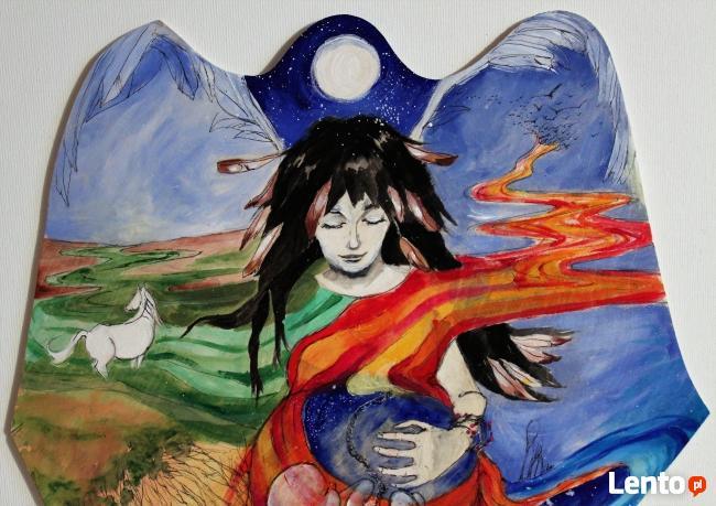 Anioł malowany na drewnie ANIOŁ DOULI artystki A. Laube