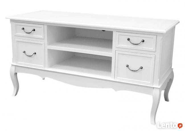 szafka stolik rtv pod telewizor biała styl rustykalny