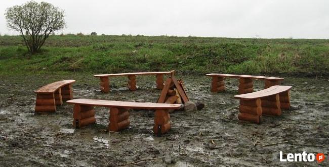 Zaawansowane ławki ogniskowe z bali do ogrodu ławka ogrodowa Załęcze Małe XI62