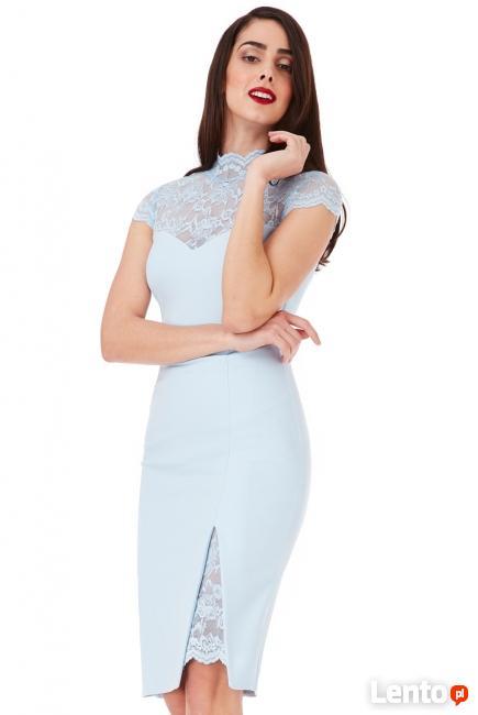 b98d3fd6 Błękitna ołówkowa sukienka midi z koronkowym dekoltem Czeladź