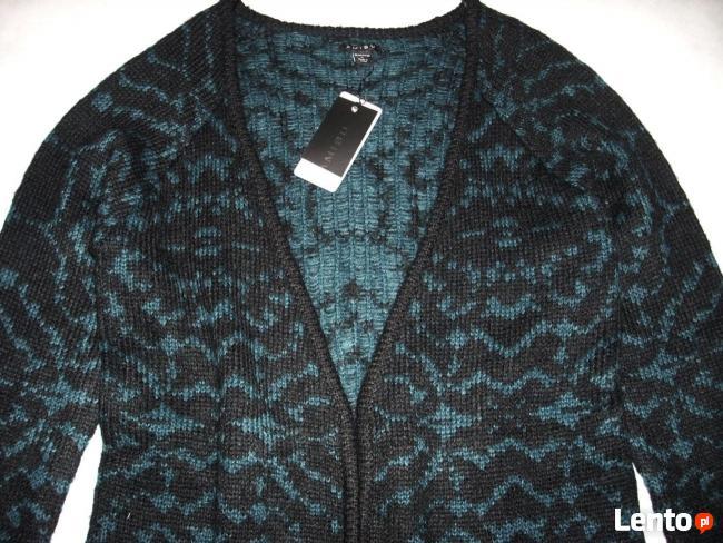 AMISU Ciepły Morski Sweter Długi Grubszy NOWY XS S
