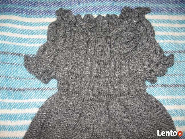 Szara sukienka na zimę, ok.116cm