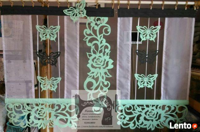 Firanki panel ekran z ażurem róża