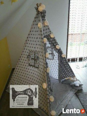 Namiot tipi wigwam z matą, oknami i 3 poduszkami duży wymiar