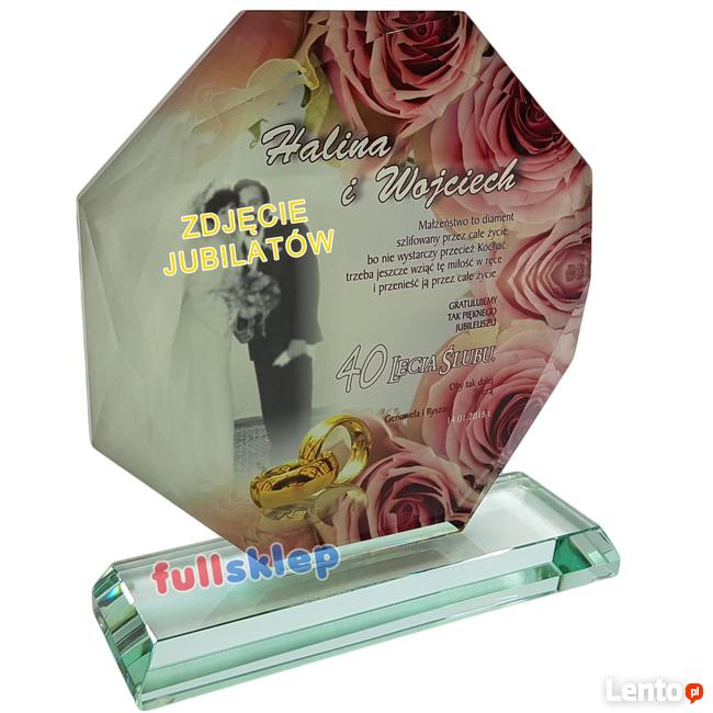 Prezent na Jubileusz, Rocznicę Ślubu szklana statuetka