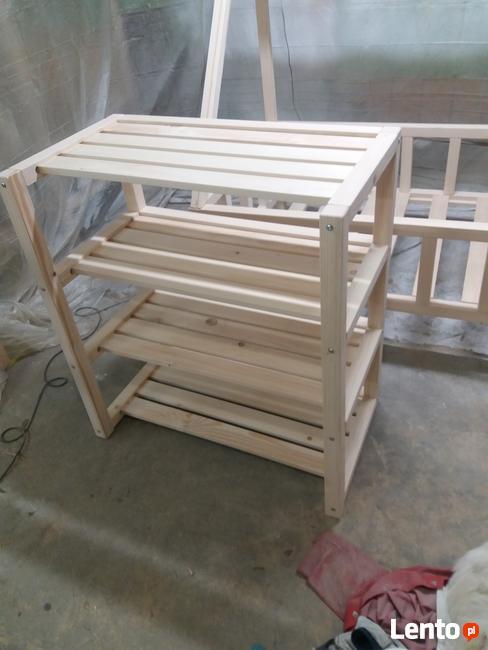 Regał Drewniany Skandynawski 4 Półki Bezpieczny Dla Dzieci