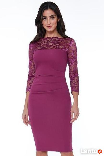 0b950cb2f8 Elegancka sukienka midi wyszczuplająca z koronkowymi rękawam Czeladź