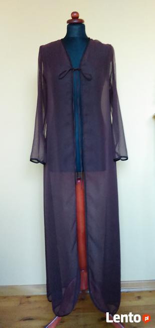 Wieczorowy szyfonowy płaszcz ciemny brąz mgiełka sylwester