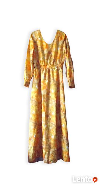 elegancka sukienka, długa sukienka z jedwabiu, ruda sukienka
