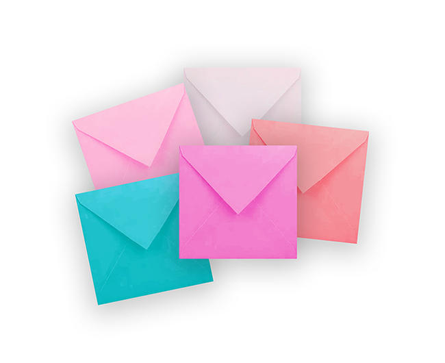 duże koperty kwadratowe, kolorowe koperty 21x21 cm