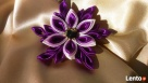 Nietypowe broszki z kwiatów kanzashi