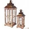 lampion drewniany latarnia komplet 2 sztuki vintage brązowy Limanowa