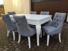 Krzesło białe z kołatką pinezkami pikowane Nowe - 5